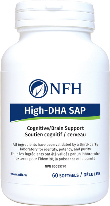 SCIENCE-BASED HIGH-DOSE DHA FOR OPTIMAL PRENATAL AND POSTNATAL HEALTH  NFH High‑DHA SAP (600 mg DHA, 120 mg EPA/softgel) 60 Softgels  Description  Research evidence supports the positive role of omega-3 polyunsaturated fatty acids, especially high docosahexaenoic acid (DHA), and a sufficient amount of eicosapentaenoic acid (EPA) in fetal and newborn neurodevelopment.