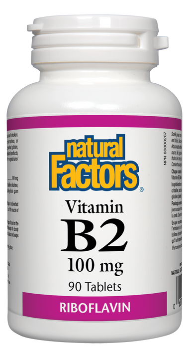 Natural Factors Vitamin B2 100mg 90 Tablets Riboflavin