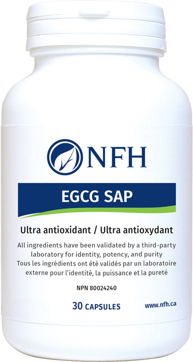 SCIENCE-BASED ULTRA ANTIOXIDANT FROM GREEN TEA, BERRIES, GRAPES, AND TOMATOES  NFH EGCG SAP 30 Vegetarian Capsules  Description  Consuming green tea has been associated with lowered risk of several types of human cancers and cardiovascular disease. Epigallocatechin gallate (EGCG), a potent natural antioxidant, is the major chemopreventive agent in green tea.