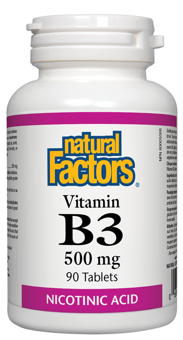 Natural Factors Vitamin B3 500mg 90 Tablets Nicotinic Acid