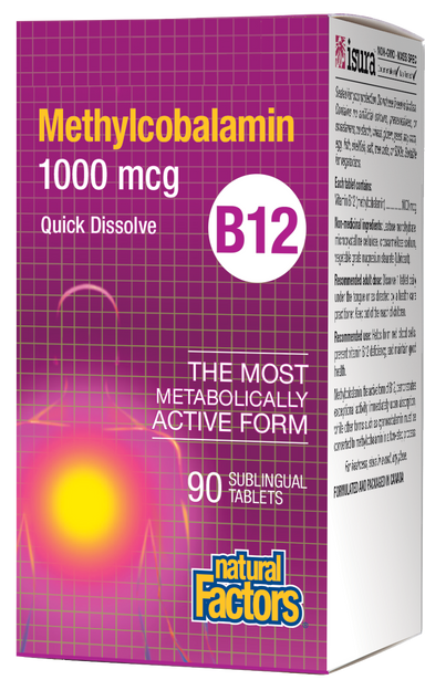 Natural Factors Vitamin B12 Methylcobalamin 1000mcg 90 Sublingual Tablets Quick Dissolve