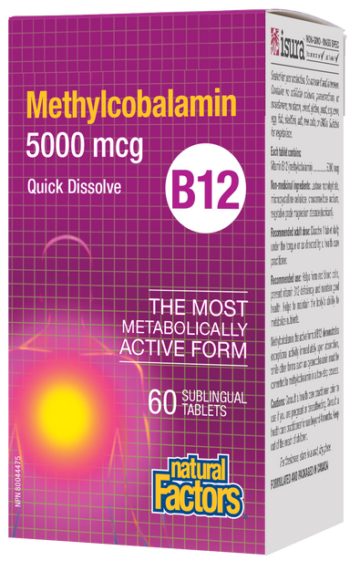 Natural Factors Vitamin B12 Methylcobalamin 5000mcg 60 Sublingual Tablets Quick Disolve
