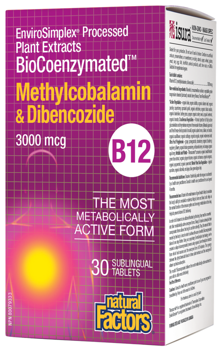 Natural Factors BioCoenzymated Methylcobalamin & Dibencozide 3000mcg 30 Sublingual Tablets