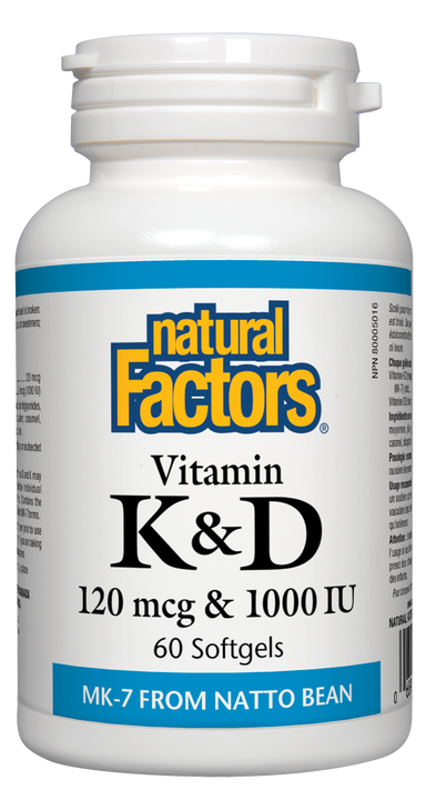 Natural Factors Vitamin K & D 120mcg & 1000 IU 60 Softgels