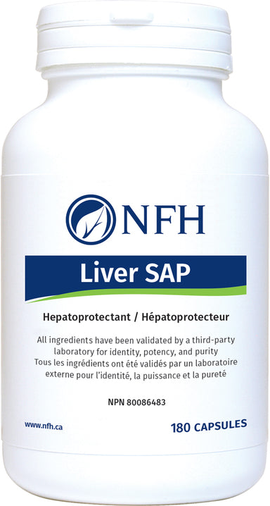 SCIENCE-BASED NUTRACEUTICAL AND BOTANICAL EXTRACTS FOR LIVER DETOXIFICATION  NFH Liver SAP 180 Vegetarian Capsules  Description  The liver is the largest glandular organ in the body, with numerous vital functions including glucose, fat, and protein metabolism, regulation of blood sugar levels, storage of vitamins, and digestion.