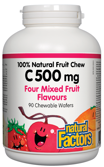 Natural Factors Vitamin C 500mg 100% Natural Fruit Chew Four Mixed Fruit Flavours 90 Chewable Tablets