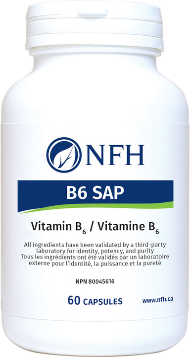 SCIENCE-BASED B-COMPLEX WITH A HEALTHY SUPPLEMENTAL DOSE OF VITAMIN B6  NFH B6 Sap 60 Vegetarian Capsules  Description  Vitamin B6 is involved in more bodily functions than almost any other single nutrient, with roles in homocysteine metabolism, hemoglobin formation, and neurotransmitter synthesis. It also acts as a potent antioxidant in the body.