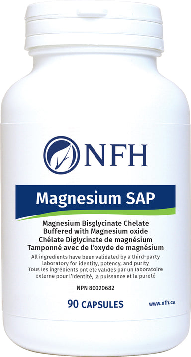 SCIENCE-BASED MAGNESIUM BISGLYCINATE FOR ENHANCED BIOAVAILABILITY  NFH Magnesium Sap 90 Vegetarian Capsules  Description  Magnesium deficiency is one of the most common mineral deficiencies in North America. It can contribute to a multitude of symptoms and long-term health concerns.