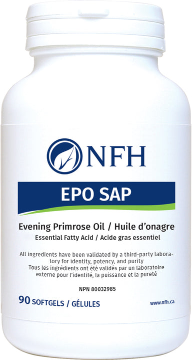 SCIENCE-BASED OMEGA-6 FATTY ACID OF EXCEPTIONAL PURITY  NFH EPO SAP 90 Softgels  Description  Evening primrose oil (EPO) contains essential fatty acids that have several beneficial effects in the body. EPO is a source of gamma-linolenic acid (GLA) which, when used topically, has been demonstrated to aid in the management of atopic dermatitis.