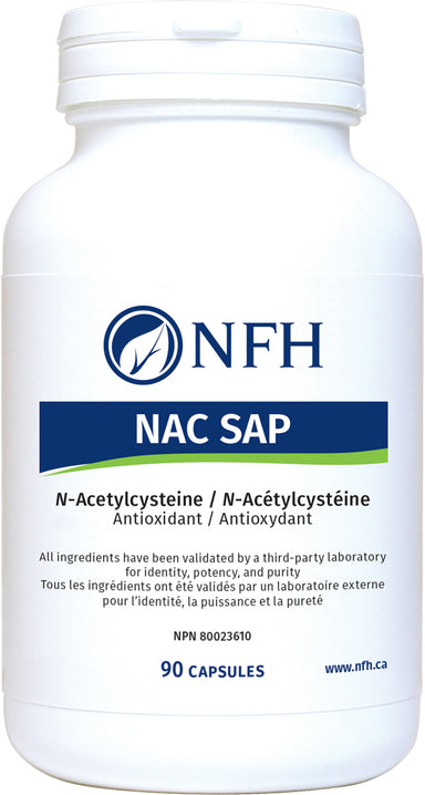 SCIENCE-BASED GLUTATHIONE AND ANTIOXIDANT SUPPORT  NFH NAC SAP 90 Vegetarian Capsules  Description  N-Acetylcysteine (NAC) is a precursor to glutathione synthesis and also acts on its own to reduce the effects of reactive oxygen species. NAC also has mycolytic properties and decreases viscosity of lung secretions.