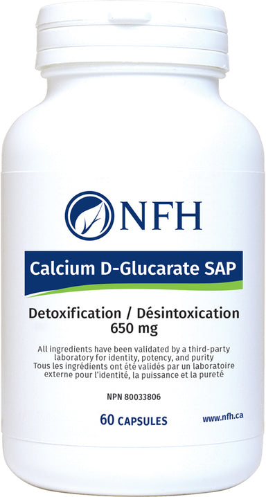 SCIENCE-BASED CALCIUM ᴅ‑GLUCARATE FOR OPTIMAL DETOXIFICATION  NFH Calcium D‑Glucarate SAP 60 Vegetarian Capsules  Description  Calcium ᴅ‑glucarate is a calcium salt of ᴅ‑glucaric acid, which is a naturally occurring substance. Glucaric acid is found in several fruits and vegetables, with its highest concentration being found in cruciferous vegetables, apples, oranges, and grapefruits, and it is also made in small amounts in the human body.