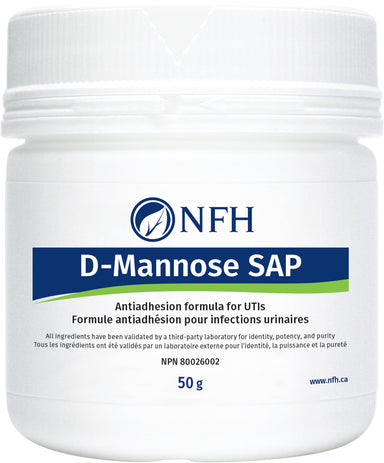 SCIENCE-BASED URINARY ANTIADHESION FORMULA FOR URINARY TRACT INFECTIONS  NFH D-Mannose SAP 50g  Description  Annually, urinary tract infections (UTI) are responsible for more than 11 million physician visits in the United States. Although normally a commensal inhabitant of the intestinal and gastrointestinal tract of humans, Escherichia coli is the most common urinary-tract pathogen, whose overgrowth and over colonization accounts for 85% of UTI.