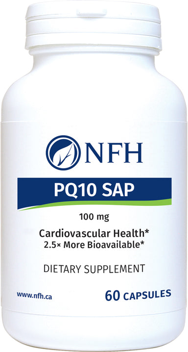 SCIENCE-BASED PEA-EMULSIFIED COENZYME Q10 FOR OPTIMAL ABSORPTION  NFH PQ‑10 SAP 60 Vegetarian Capsules  Description  Coenzyme Q10 is produced by the human body and is necessary for the basic functioning of healthy living cells. It has two main physiological roles: energy production and antioxidant protection. Without COQ10, the chain of cellular energy is broken; without energy, cellular life ceases.