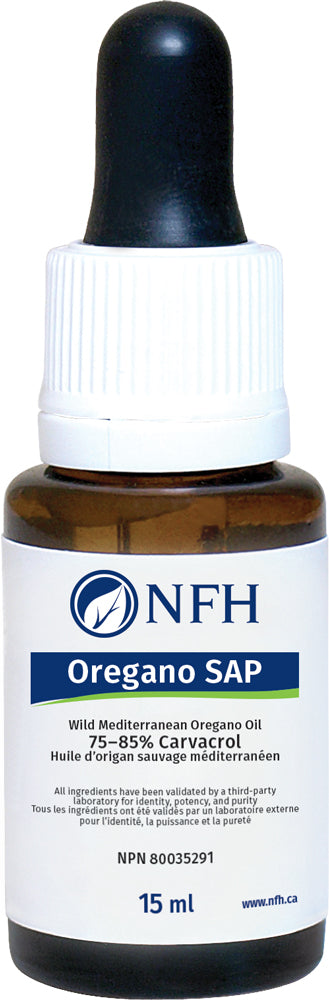 SCIENCE-BASED NUTRIENTS FOR ANTIMICROBIAL TREATMENT  NFH Oregano SAP 15 ml  Description  Wild Mediterranean oregano from Turkey standardized to 75–85% carvacrol content is used to formulate Oregano SAP.  Oregano oil extract has demonstrated antioxidative, antimicrobial, and antiviral properties. Carvacrol is one of nature's most potent antimicrobials, as it has beneficial effects against several strains of both Gram-positive and -negative bacteria and several species of fungi and yeast.