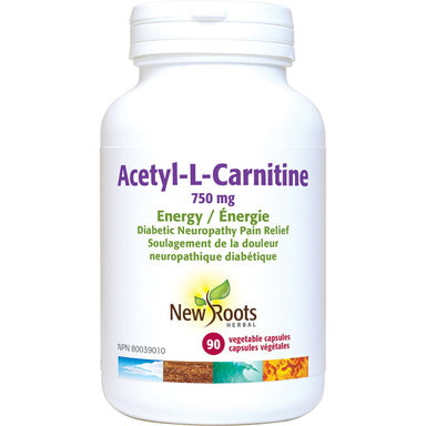 New Roots L-Carnitine(N-Acetyl L-Carnitine) 750mg 90 Vegetarian Capsules