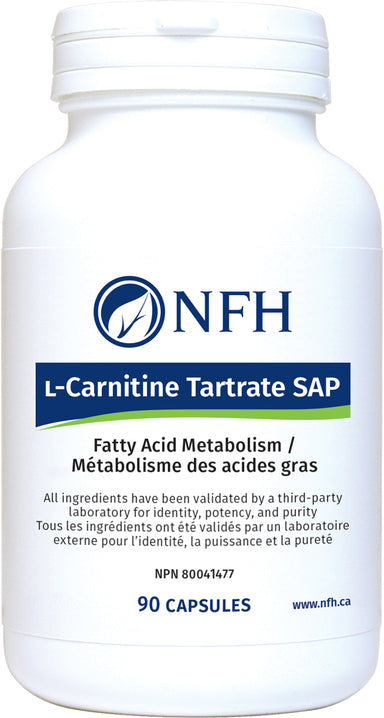 SCIENCE-BASED FATTY ACID METABOLISM AND ANTIOXIDANT SUPPORT  NFH L-Carnitine Tartrate Sap 90 Vegetarian Capsules  Description  ʟ-Carnitine plays an important role in fatty acid metabolism and has important antioxidant and anti-inflammatory properties. ʟ-Carnitine is a nonessential amino acid synthesized primarily in the liver and kidneys from the amino acids lysine and methionine.