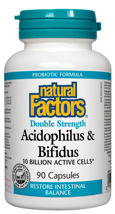 Natural Factors Double Strength Acidophilus & Bifidus 10 Billion 90 Capsules