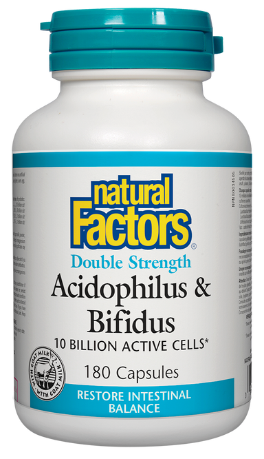 Natural Factors Double Strength Acidophilus & Bifidus 10 Billion 180 Capsules