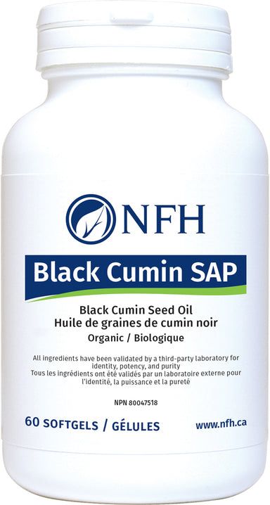 POTENT ANTI-INFLAMMATORY AND ANTIOXIDANT NUTRACEUTICAL  NFH Black Cumin SAP 60 Softgels  Description  Black cumin (Nigella sativa) is an herb native to the Middle Eastern and South-Asian regions of the world, and has long been used in traditional healing systems for a variety of treatments.