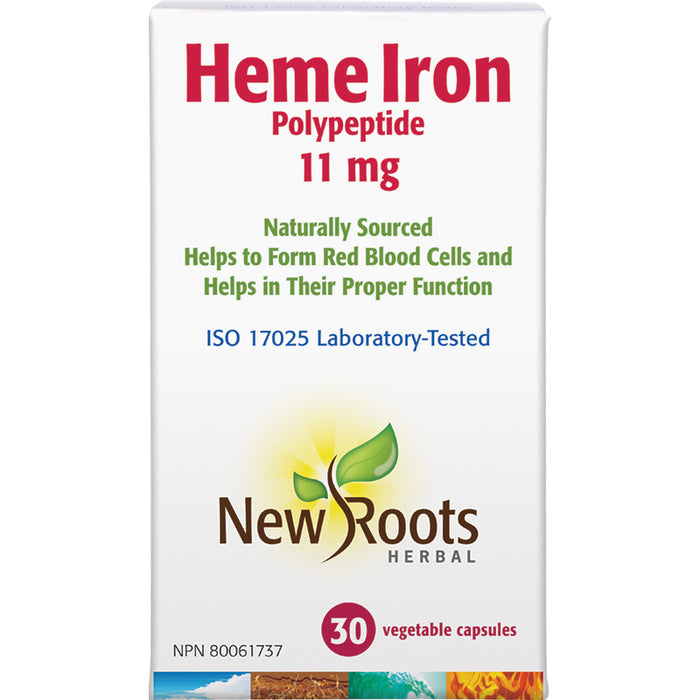 New Roots Heme Iron Polypeptide 11mg 30 Vegetarian Capsules