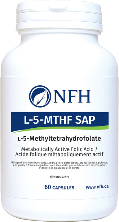 "SCIENCE-BASED METABOLICALLY ACTIVE FOLIC ACID  NFH L‑5‑MTHF SAP 60 Vegetarian Capsules  Description  Folic acid, or folate, is a B vitamin that must be derived from either dietary sources or via supplementation. Folate is necessary for a biochemical process in the body called ""methylation"" or ""one-carbon metabolism."" This process does not work adequately in a significant number of individuals who have a genetic polymorphism"