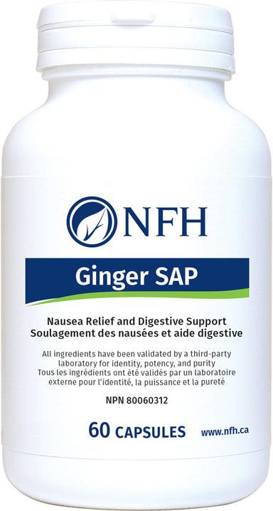 SCIENCE-BASED DIGESTIVE AND PAIN SUPPORT  NFH Ginger SAP 60 Vegetarian Capsules  Description  Ginger SAP is a standardized extract of Zingiber officinale that is used to help a variety of conditions. Ginger has been used for centuries in the Indian, Chinese, Arabic, and Tibetan systems of traditional medicine to treat nausea and vomiting induced by different stimuli. Ginger has been clinically shown to help prevent nausea and vomiting associated with motion sickness and/or seasickness.