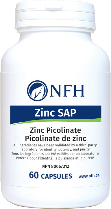 ZINC PICOLINATE FOR HEALTHY IMMUNE FUNCTION  NFH Zinc SAP 60 Vegetarian Capsules  Description  Zinc SAP contains a highly absorbable form of zinc, called zinc picolinate. Zinc is a mineral that is essential in both innate and adaptive immune function. Zinc is also important to maintain connective tissue formation, intestinal health, and healthy skin. In addition, metabolism of carbohydrates, fat, and proteins to form red blood cells relies on zinc for proper function.