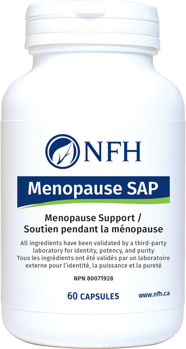 SCIENCE-BASED FORMULA FOR MENOPAUSE SUPPORT  NFH Menopause SAP 60 Vegetarian Capsules  Description  Menopause SAP contains a combination of four evidence-based standardized herbal extracts that can help in the management of menopause-related symptoms and profoundly improve pre‑, peri‑, and postmenopausal quality of life.