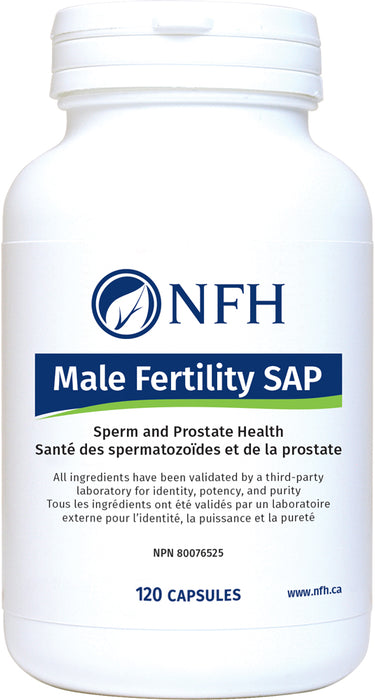 SCIENCE-BASED MALE FERTILITY SUPPORT  NFH Male Fertillity SAP 120 Vegetarian Capsules  Description  Male infertility due to impaired semen parameters is a global medical concern affecting couples of reproductive age. Amongst various disorders causing male infertility, idiopathic oligoasthenoteratozoospermia remains the most common etiology for which a specific therapeutic option is yet unavailable.