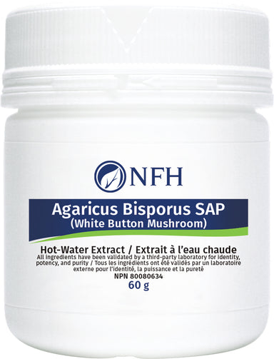 SCIENCE-BASED IMMUNE SUPPORT FOR OPTIMAL HEALTH  NFH Agaricus Bisporus SAP White Button Mushroom 60 g  Description  Agaricus Bisporus SAP is a hot water-extract from white button mushroom (WBM; Agaricus bisporus), the most commonly consumed mushroom in North America and most western countries. A. bisporus constitutes a significant amount of vitamin D precursor ergosterol, dietary fibers and antioxidants including vitamin C, and B12, folates and polyphenols.