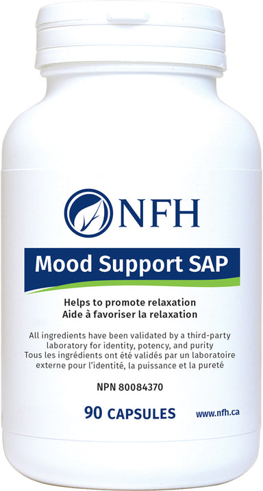 SCIENCE-BASED FORMULATION FOR MOOD BALANCE  NFH Mood Support SAP 90 Vegetarian Capsules  Description  Mood imbalance and associated disorders have become increasingly common worldwide. Various factors can contribute to mood imbalances, such as food and environmental factors, age, occupation, as well as previous illnesses and surgeries.
