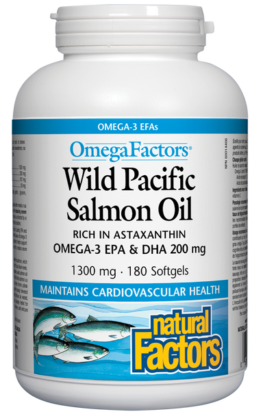 Natural Factors OmegaFactors Wild Pacific Salmon Oil 1300mg 180 Softgels