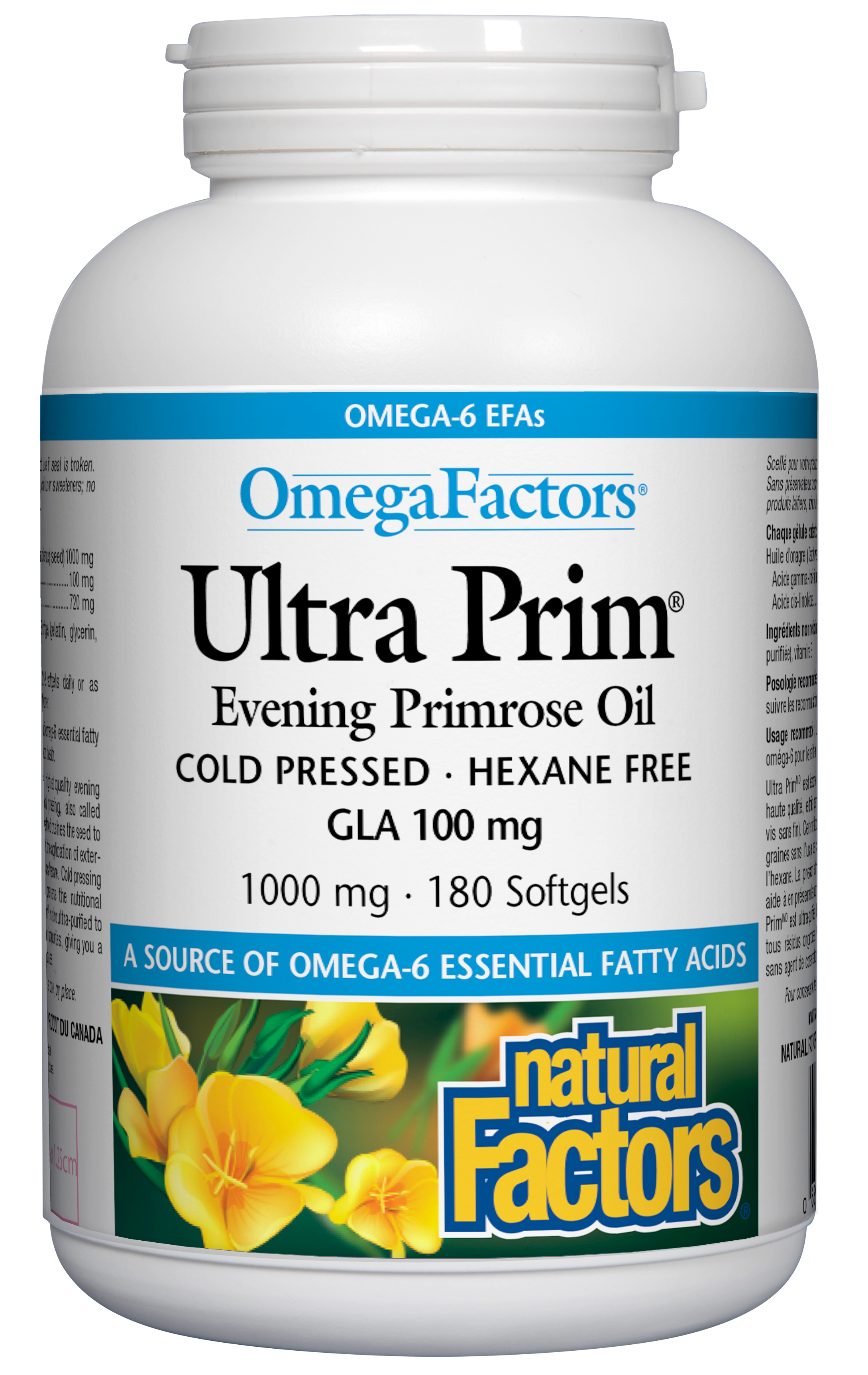 Natural Factors OmegaFactors Ultra Prim Evening Primrose Oil 1000mg 180 Softgels