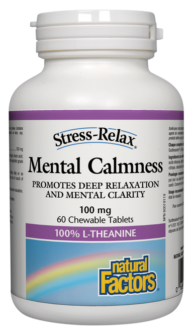 Natural Factors Stress-Relax Mental Calmness L-Theanine 125mg 60 Chewable Tablets