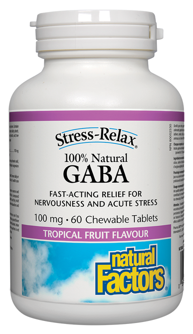 Natural Factors Stress-Relax 100% Natural GABA 100mg 60 Chewable Tablets Tropical Fruit Flavour