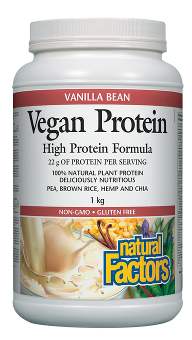 Natural Factors Vegan Protein High Protein Formula Vanilla Bean 1kg