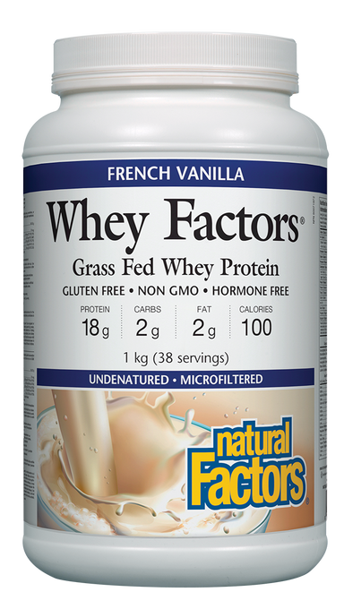 Natural Factors Whey Factors Grass Fed Whey Protein French Vanilla 1kg