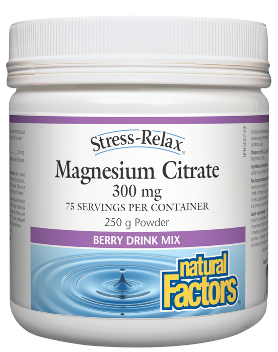 Natural Factors Stress-Relax Magnesium Citrate 300mg Berry Drink Mix 250g