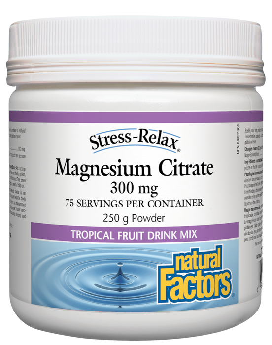 Natural Factors Stress-Relax Magnesium Citrate Tropical Fruit Drink Mix 250g