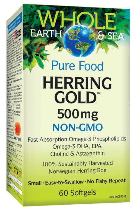 Whole Earth & Sea Herring Gold 500mg NON-GMO 60 Softgels