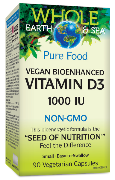 Whole Earth & Sea Vegan Bioenhanced Vitamin D3 NON-GMO 1000 IU 90 Vegetarian Capsules