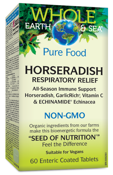 Whole Earth And Sea Horseradish Respiratory Relief NON-GMO 60 Enteric Coated Tablets