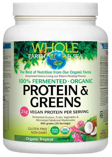 Whole Earth & Sea 100% Fermented Protein & Greens Organic Tropical 660g