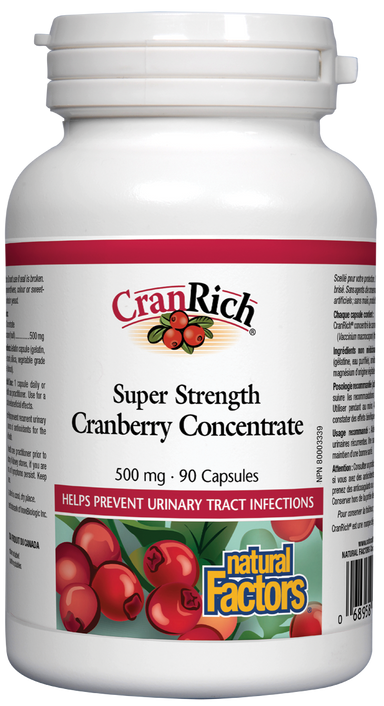 Natural Factors Cranrich Super Strength Cranberry Concentrate 500mg 90 Capsules