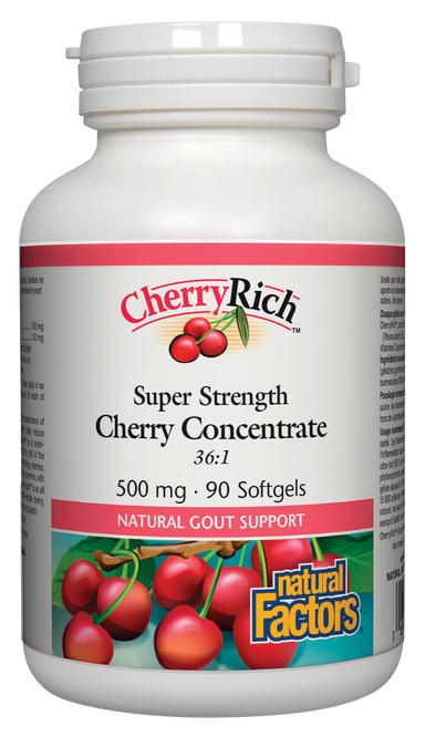 Natural Factors Cherryrich Super Strength Cherry Concentrate 36:1 500mg 90 Softgels