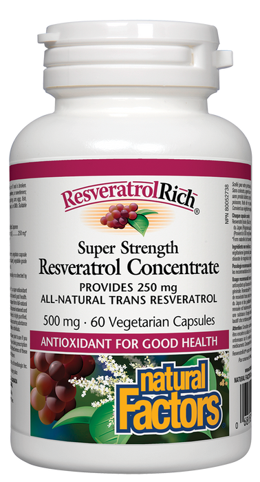 Natural Factors ResveratrolRich Super Strength Resveratrol Concentrate 500mg 60 Vegetarian Capsules