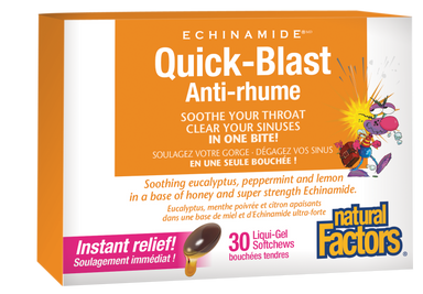 Natural Factors Quick-Blast ECHINAMIDE 6x30 Chewable Softgels