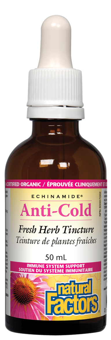 Natural Factors Anti-Cold Echinacea & Goldenseal Tincture ECHINAMIDE 50ml
