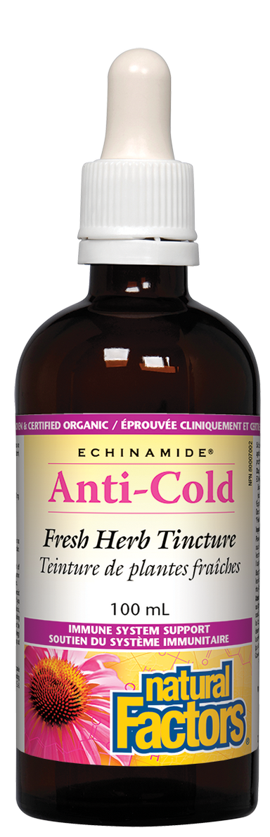 Natural Factors Anti-Cold Echinacea & Goldenseal Tincture ECHINAMIDE 100ml