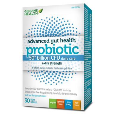 Genuine Health Advanced Gut Health Probiotic 50 Billion 30 Vegetarian Capsules